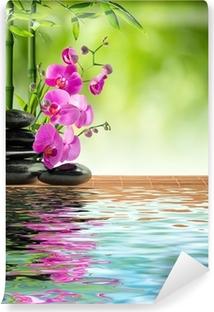 Pinkki orkidea musta kivi ja bambu veteen Vinyyli Valokuvatapetti