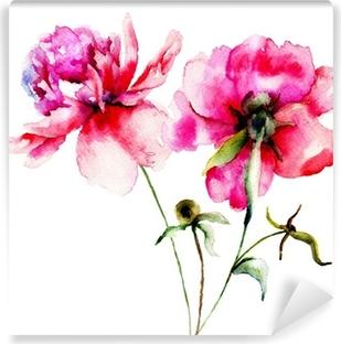 Punainen pioni kukkia Vinyyli valokuvatapetti