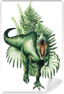 Realistinen akvarelli dinosaurus Vinyyli valokuvatapetti