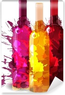 Ryhmä viinipullot vith grunge roiskeita. punainen, ruusu ja valkoinen. Vinyyli valokuvatapetti