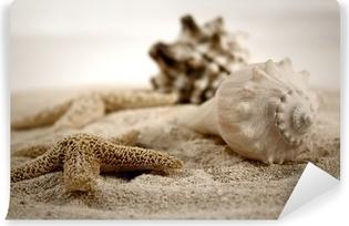 Simpukoita hiekalla Vinyyli Valokuvatapetti