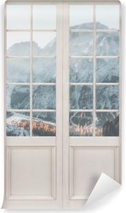 Valkoinen ovi - veneitä. Dolomites Mountains Vinyyli valokuvatapetti