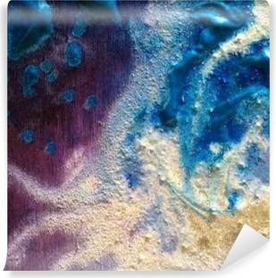 Värikäs maali koostumus. vihreä ja hopea. violetti ja sininen Vinyyli valokuvatapetti