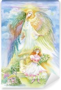 Vesiväri enkeli Vinyyli valokuvatapetti
