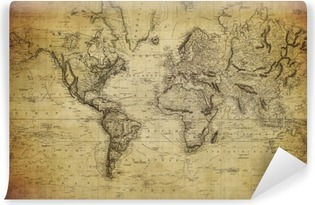 Vuosikerta maailman kartta 1814 .. Vinyyli valokuvatapetti