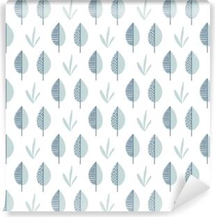 Vaskbar fototapet Abstrakt vektor blad mønster. skandinavisk sømløs bakgrunn