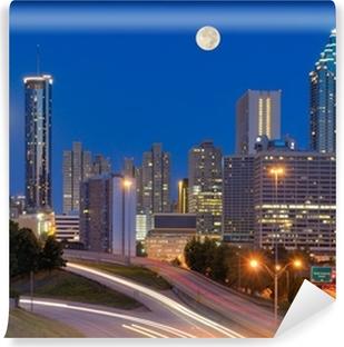 Atlanta Skyline under Full Moon Vaskbare fototapet