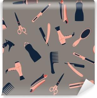 Vaskbar fototapet Barber butikk sømløs mønster