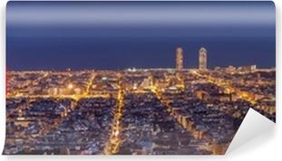 Barcelona skyline panorama om natten Vaskbare fototapet