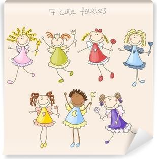 Cute fairies illustration Vaskbare fototapet