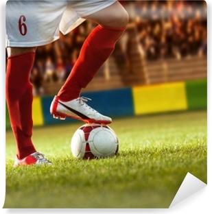 Fodboldspiller med røde sokker, der forbereder frispark. Vaskbare Fototapet