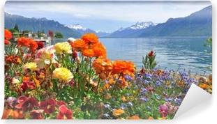 Forår blomster i blomst Vaskbare fototapet