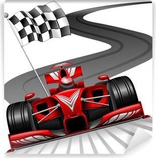 Formel 1 Rød bil på Race Track Vaskbare fototapet