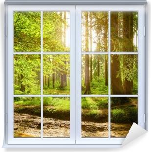 Vaskbar fototapet Hvit vinduet lukket - Skog
