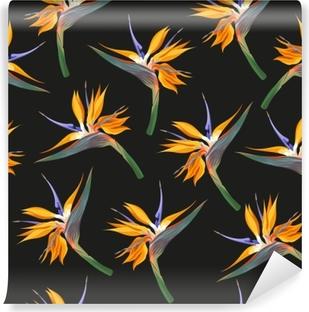 Vaskbar fototapet Jungle blomster sømløs