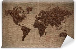 Kaffe verdenskort Vaskbare fototapet