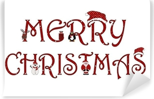 Vaskbar fototapet Merry Christmas Sign Med Animasjoner - Isolert På Hvitt