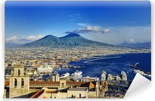 Napoli og Vesuvius panoramaudsigt, Napoli, Italien Vaskbare Fototapet