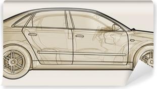 Perspektiv skitseret illustration af en Audi A4. Vaskbare fototapet