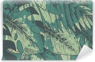 Problemfri mønster med grønne håndtrukne tropiske planter Vaskbare fototapet