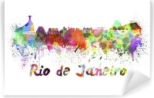 Vaskbar fototapet Rio de Janeiro skyline i akvarell