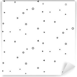 Små geometriske tegn sømløse hvide mønster. uklare tynde cirkler og trekanter website baggrund monokrom mønster. Vaskbare fototapet
