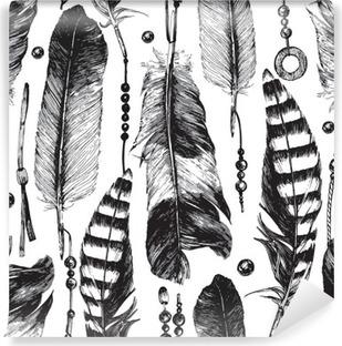 Vaskbar fototapet Sømløs mønster med håndtegnede fjær.