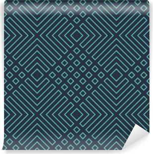 Vaskbar fototapet Sømløs neonblå diagonal art deco geometrisk konturmønstervektor