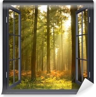 Vaskbar fototapet Sorte vinduet åpent - Skog