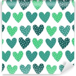 Vaskbar fototapet Søte turkise hjerter med prikker sømløs mønster