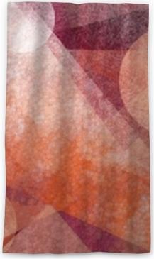 Verduisterend gordijn Abstracte moderne geometrische achtergrondontwerp met verschillende texturen en vormen, zwevende cirkels pleinen diamanten en driehoeken in oranje wit en bordeaux roze kleuren, artistieke compositie lay-out