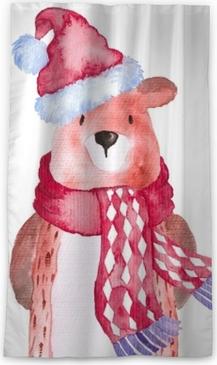 Verduisterend gordijn Beer kerstmis dieren winter aquarel handgeschilderde illustratie schattige dieren vakantie seizoensgebonden geïsoleerde hoed sjaal