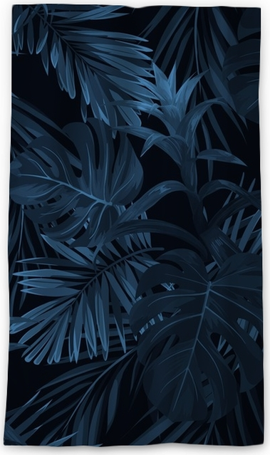 Verduisterend gordijn Exotische tropische vrctor achtergrond met Hawaiiaanse planten en bloemen. naadloos indigo tropisch patroon met monstera en sabal palmbladen, guzmania bloemen. - Bloemen en Planten