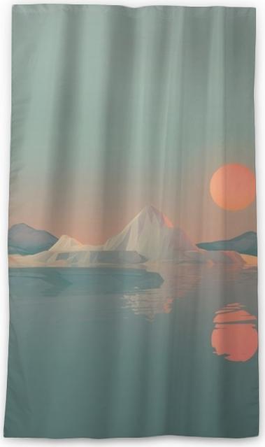 Verduisterend gordijn Geometrisch berglandschap met zon die water overdenkt - Landschappen