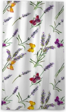 Verduisterend gordijn Lavendelbloemen, vlinders. aquarel naadloze patroon