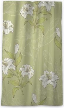Verduisterend gordijn Lelie bloem grafische kleur naadloze patroon schets illustratie vector