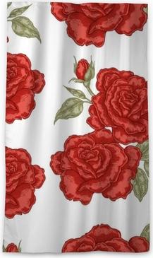 Verduisterend gordijn Naadloos patroon met rode roze bloemen op witte achtergrond. vectorillustratie voor stoffen
