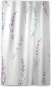Verduisterend gordijn Naadloze patroon van lavendel bloemen op een witte achtergrond. waterverfpatroon met lavendel voor verpakking. vectorillustratie