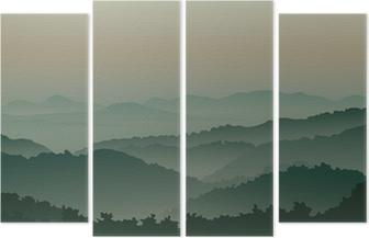 Vierluik Groene bergen in de mist