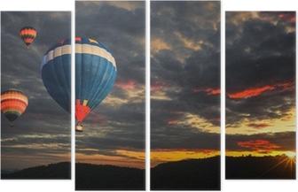 Vierluik Kleurrijke hete luchtballon