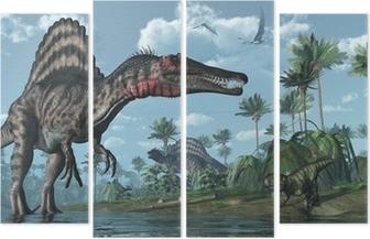 Vierluik Prehistorische scène met Spinosaurus en Psittacosaurus Dinosaurs