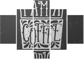 Vijfluik Krijtbord Style typografische ontwerp van de koffiekop