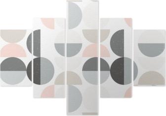 Vijfluik Modern vector abstract naadloos geometrisch patroon met semi cirkels en cirkels in retro Skandinavische stijl