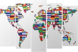 Vijfluik Wereldkaart met vlaggen