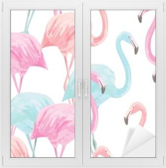 Flamingo akvarel mønster Vindue og glas klistermærke