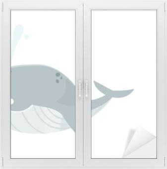 Grande baleine bleue Vindue og glas klistermærke
