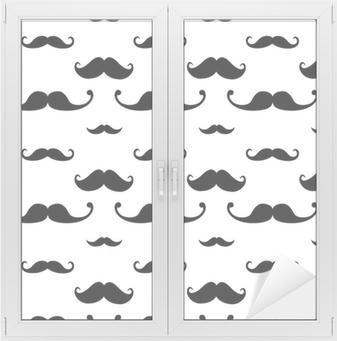 Hipster Mustache Seamless Pattern Vindue og glas klistermærke