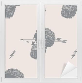 Problemfri mønster baggrund af vintage kranium hipster med pil. Grafisk design til indpakningspapir og stoftekstur af skjorte. Vektor illustration Vindue og glas klistermærke