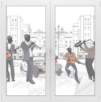 Serie af gadeudsigt med musikere Vindue og glas klistermærke