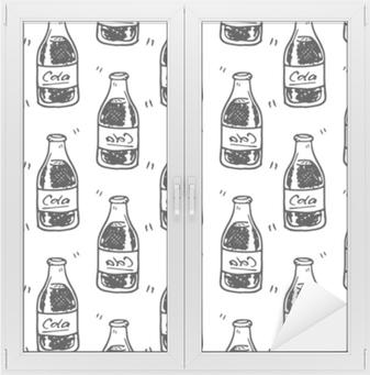 Sømløs mønster håndtegnet cola flaske. doodle black sketch. tegn symbol. dekorationselement. isoleret på hvid baggrund fladt design. vektor illustration Vindue og glas klistermærke
